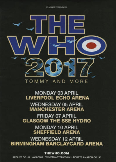 The Who - The Who 2017 Tommy And More - April, 2017 - UK Tour Dates