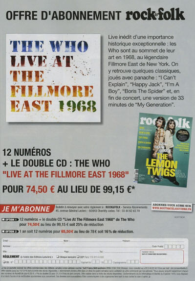 The Who - Live At The Fillmore East 1968 - 2018 France