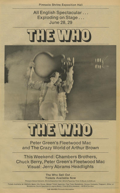 The Who - Shrine Exposition Hall - June 28 - 29, 1968 LA, California USA