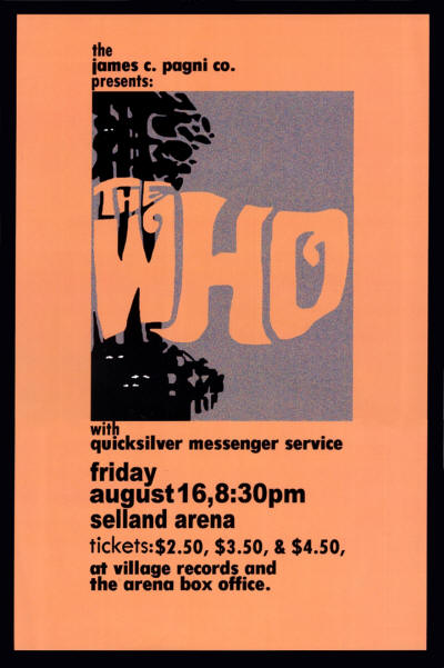 The Who - Selland Arena, Fresno, CA - August 16, 1968 (Reproduction)