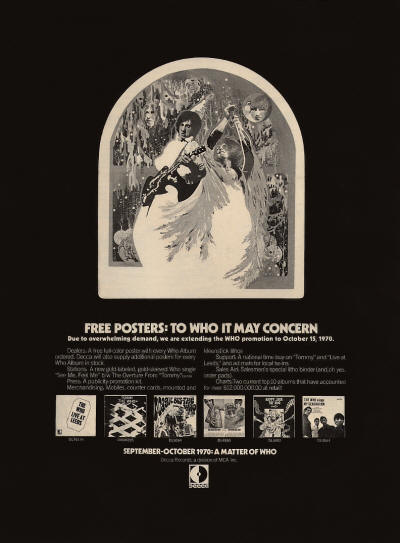 "The Who - ""Free Posters"" - 1970 USA"