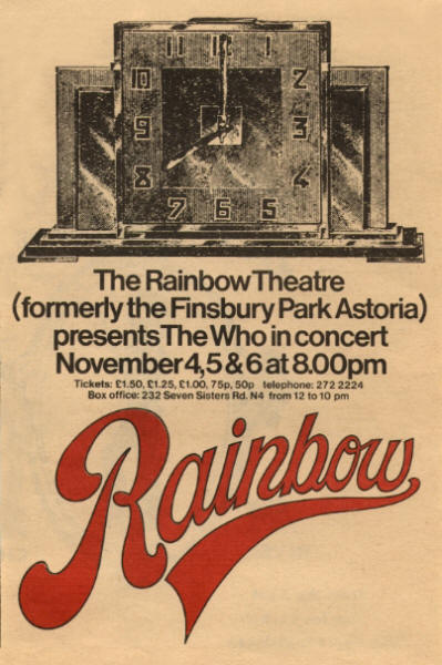 The Who - The Rainbow - September, 1971 UK