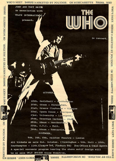 The Who - Who's Next/UK Who Tour - 1971 UK