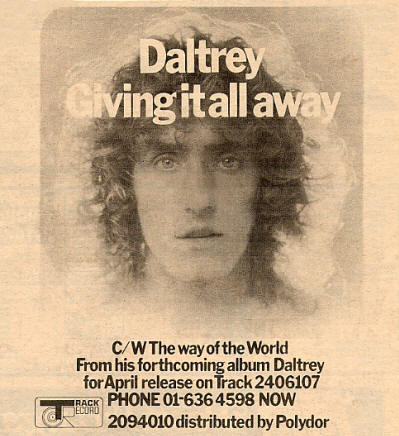 Roger Daltrey - Giving It All Away - 1973 UK