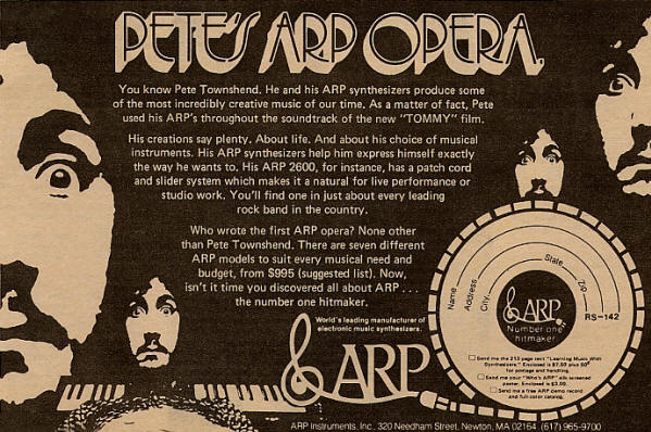 Pete Townshend - ARP - 1974 USA