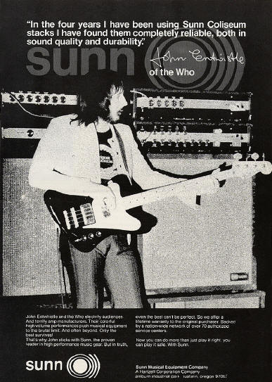 John Entwistle - Sunn Musical Equipment Company - 1974 USA