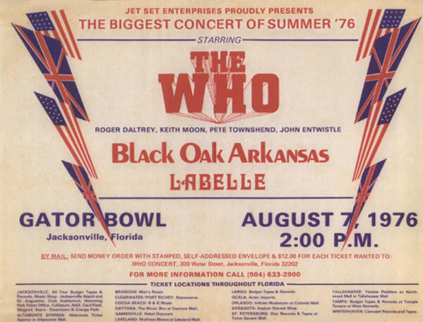 The Who - Gator Bowl, Jacksonville, FL - August 7, 1976 USA (Reproduction)