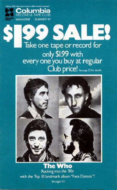 The Who - USA - Columbia Record & Tape Club - Summer, 1981