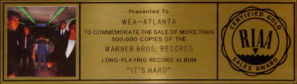 The Who - It's Hard - 1982 USA RIAA GOLD LP (Plaque Closeup)