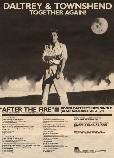 Roger Daltrey - After The Fire - 1985 USA