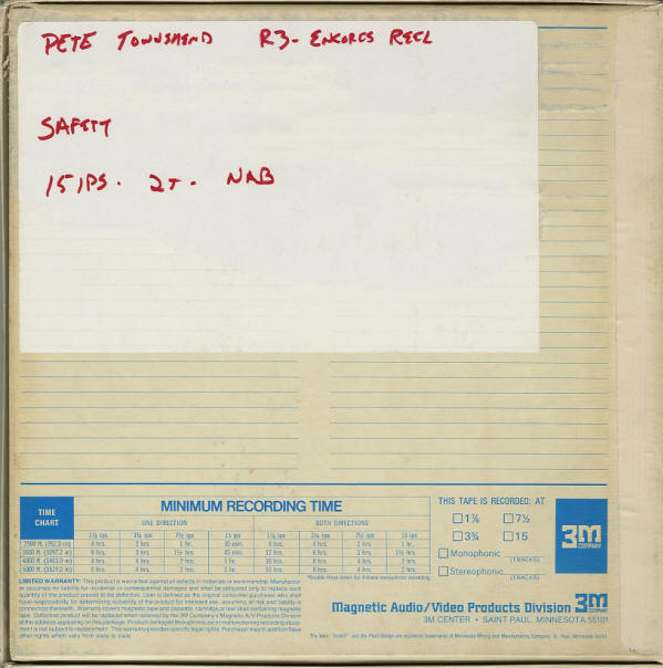 Pete Townshend - Rock Palast /Deep End - January 29, 1986 - Safety Reels