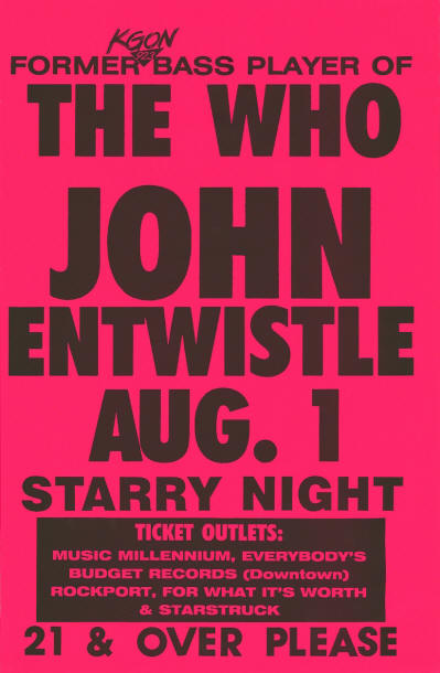 John Entwistle - Starry Night - Portland, Oregon - August 1, 1988 USA (Venue Promo)