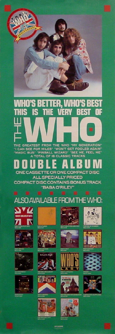 The Who - Who's Better Who's Best - 1988 USA (Promo)
